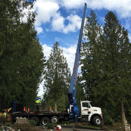 Crane truck working